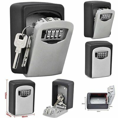 4 Digit Password Combination Key Safe Security Storage Box Lock Case Wall Mount