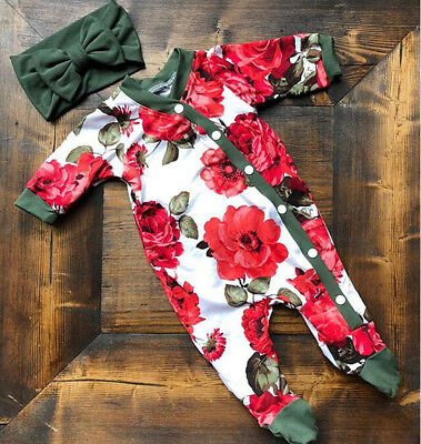 UK Newborn Baby Cotton Girl Clothes Button Floral Romper+Headband Autumn Outfits