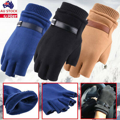 Mens Winter Warm Suede Fingerless Gloves Outdoor Thermal Lined Driving Gloves