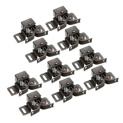 Retro Cabinet Door Double Roller Catch Ball Latch with Prong Copper Tone 10pcs