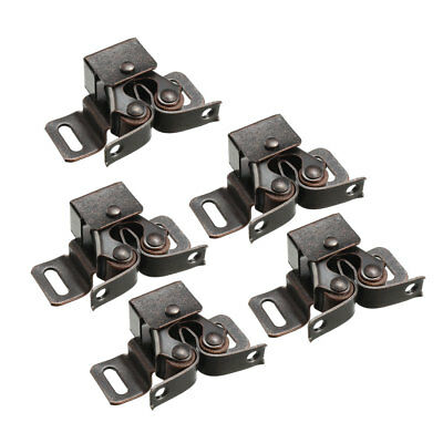 Retro Cabinet Door Double Roller Catch Ball Latch with Prong Copper Tone 5pcs