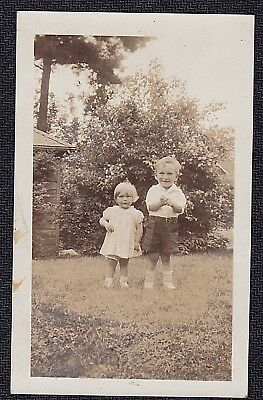 Vintage Antique Photograph Two Adorable Children Standing in the Yard