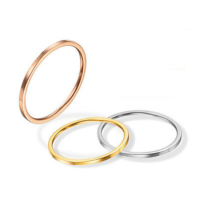 Simple Men Women Titanium Steel Silver/Gold Toned Thin Band Knuckle Ring Z