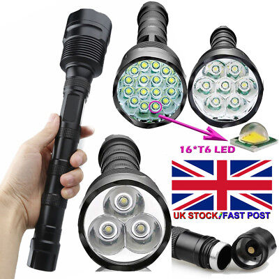 90000Lumens Tactical T6 LED Bright Police Rechargeable Flashlight Torch Lamp