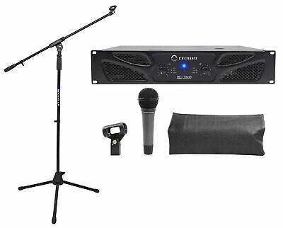 Crown Pro XLi3500 2700w 2 Channel Power Amplifier XLI 3500+AT Microphone+Stand