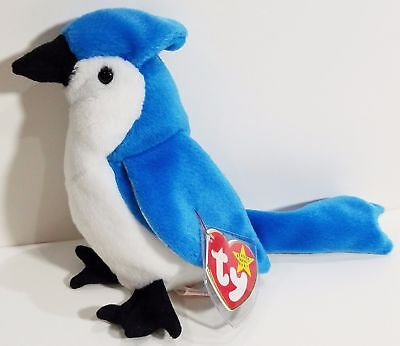 MINT with MINT TAGS TY ROCKET the BLUE JAY BEANIE BABY