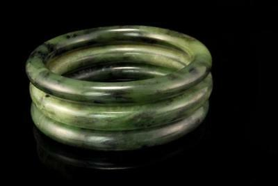 3 Antique Chinese Green Jade Bangle Bracelet Aopc