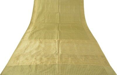 Vintage Indian Sari 100% Pure Silk All Over Woven Saree Fabric Cream & Green