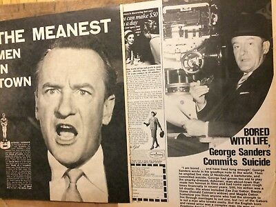 George Sanders, Lot of TWO Full Page Vintage Clippings