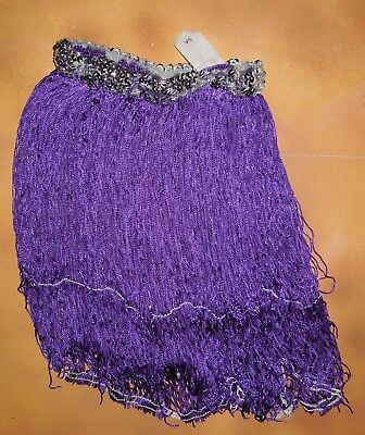 "NWOT Dance 15"" Fringe Skirt Silver Sequin Waistband Plum Purple Adult Size"