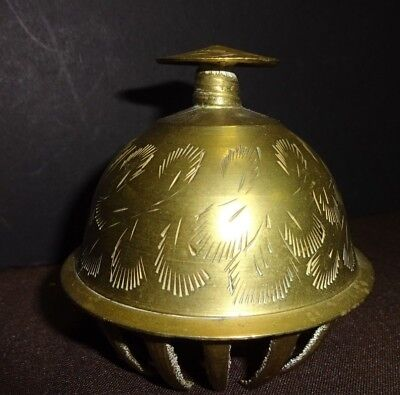 """Vintage Elephant Claw Bell Etched Brass Engraved Ornate Estate Find - 3"""" Tall"""