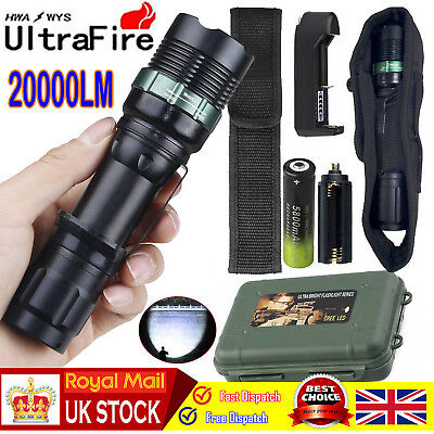 Tactical 20000LM Flashlight Torch+18650+Charger+Case T6 LED 18650 Zoomable