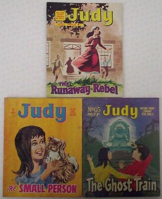 """Dated 1967-69 THREE Early """"JUDY"""" Picture stories for Girls comics #'s 56; 65; 80"""