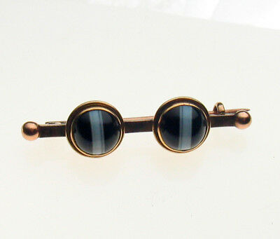 Victorian Antique Bulls Eye Banded Agate 9ct Gold Brooch
