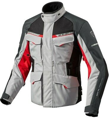 GIACCA DONNA LADIES MOTO REV'IT REVIT OUTBACK 2 TRE STRATI SILVER ROSSO TG 40