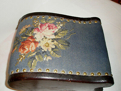 Vintage Foot Stool Tapestry Floral Curved