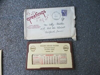 Vintage 1947 Shell Gasoline Advertising Stand Up Calendar Roller's Milford Ct.