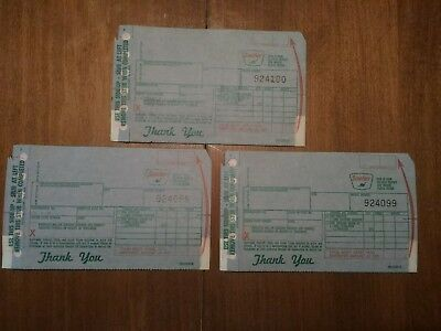 Three 1960's SINCLAIR Gas & Oil Credit Card Receipts