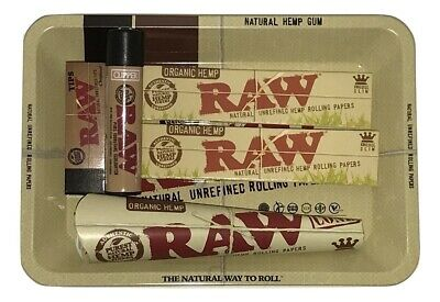 Raw Rolling Kit Tray Bundle Kit King Size Papers Raw Cones Tips Clipper Lighter