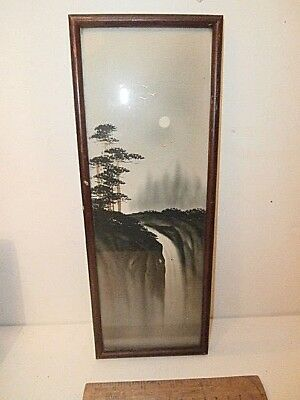 Vintage Signed Japanese Art Painting Black Grey Gold Waterfall Original Frame
