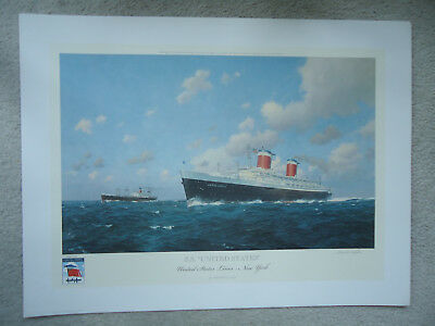 United States Lines - ss United States - Original Print - Stephen Card - Signed