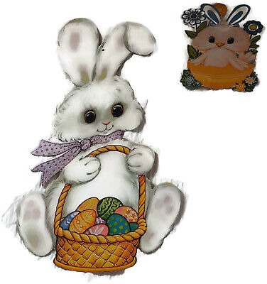 2 Vintage Easter Die Cut Window Wall Decorations Lot - Bunny Chick