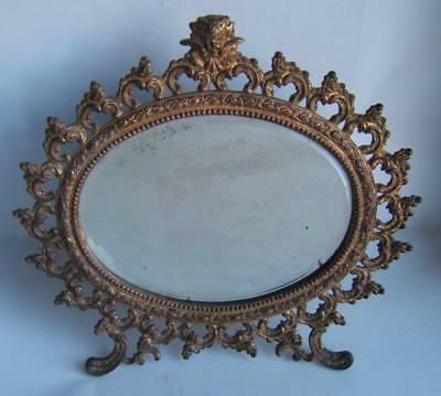 Antique Gargoyle Cast Iron Gold Gilded Ornate Victorian Dresser Mirror