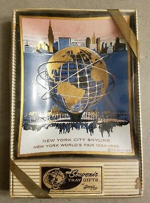 NOS New York World's Fair 1964 1965  Glass Ash Tray by Houze Art NEW in Box