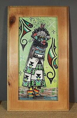 Zuni Shalako Kachina Painting Acrylic on Canvas Board Narren Bowannie