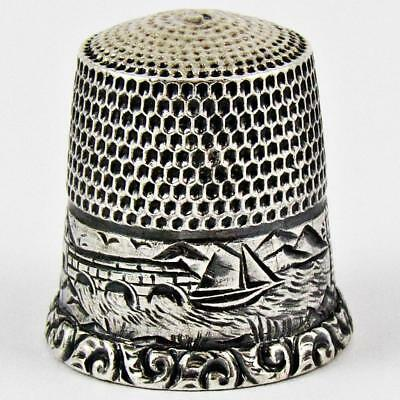 Antique Waite, Thresher Co. Scenic Size 7 Sterling Silver Sewing Thimble