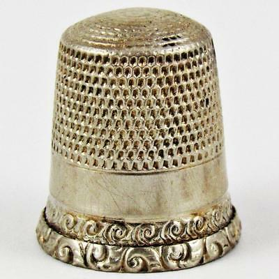 Antique Waite, Thresher Co. Scroll Rim Size 9 Sterling Silver Sewing Thimble