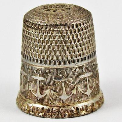Antique Waite, Thresher Co. Anchor Size 6 Sterling Silver Sewing Thimble