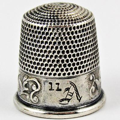 Antique Waite, Thresher Co. Acanthus Size 11 Sterling Silver Sewing Thimble