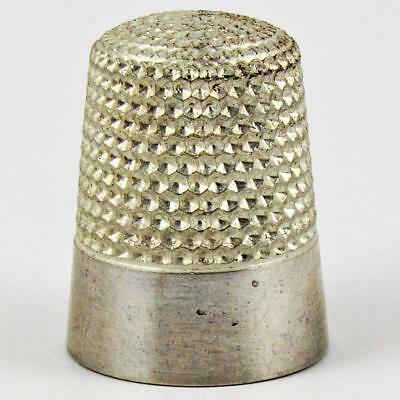 Antique Waite, Thresher Co. Plain Banded Size 9 Sterling Silver Sewing Thimble