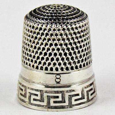 Vintage Simons Brothers Greek Key Size 8 Sterling Silver Sewing Thimble
