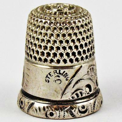 Antique Simons Brothers Acanthus Size 6 Sterling Silver Sewing Thimble