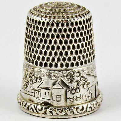 Antique Simons Brothers Scenic Size 10 Sterling Silver Sewing Thimble