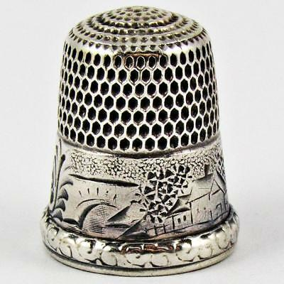 Antique Simons Brothers Scenic Size 9 Sterling Silver Sewing Thimble