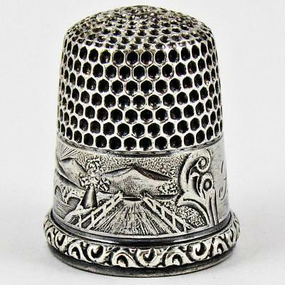 Antique Simons Brothers Scenic Size 8 Sterling Silver Sewing Thimble
