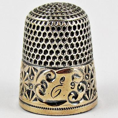 Antique Simons Brothers Pinwheel Size 9 Sterling Silver & Gold Banded Thimble