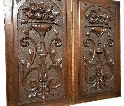 Solid pair bowl scroll leaves panel Antique french carved wood salvaged paneling