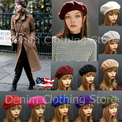 Women's 100% Wool Warm Winter Baggy Classic French Fluffy Beanie Beret Hat/NEW