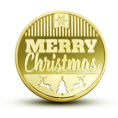 HOT  Christmas Commemorative Coin Santa Claus Happy New Year Collection Gift Lit