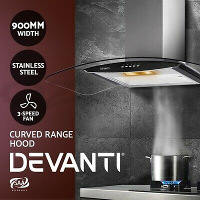 DEVANTi Rangehood 900MM 90cm Stainless Steel Curved Glass Wall Mount Range Hood