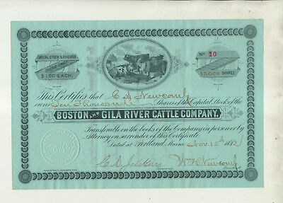 1882 Boston & Gila River Cattle Company Stock Certificate Issue #10