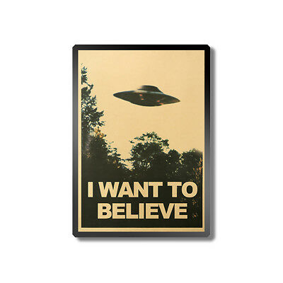 JN_ 50.5x35cm I Want To Believe Vintage UFO Painting Poster Wall Home Decor Ar