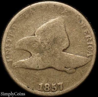 1857 Flying Eagle Penny Cent ~ AG About Good ~ SKU-008