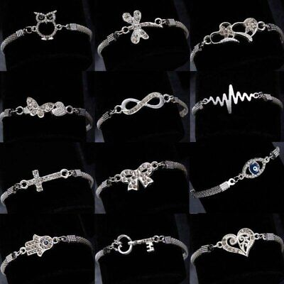 Wedding Banquet Crystal Silver Aniaml Bracelet Charm Bangle Women Jewelry Gift