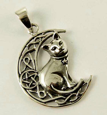 Beautiful Cat on Crescent moon w/ Pentacle Sterling Pendant by Lisa Parker