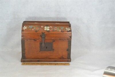 """box trunk dome top  early wooden hand made antique small 12"""" doll 1800"""